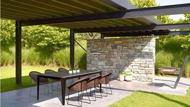 terrasse couverte jardin mur pierres H Pinterest Pergolas