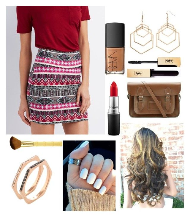 """Church Outfit #96"" by liziekay ❤ liked on Polyvore featuring Charlotte Russe, The Cambridge Satchel Company, Coco Lane, MAC Cosmetics and NARS Cosmetics"