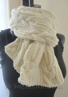 #159 Ultimate Chunky Cables and Ribs Scarf PDF Knitting Pattern #knitting #SweaterBabe.com