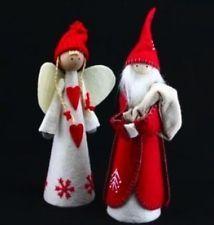 Gisela Graham Christmas Red & White Felt Santa OR Angel Tree Topper Decoration
