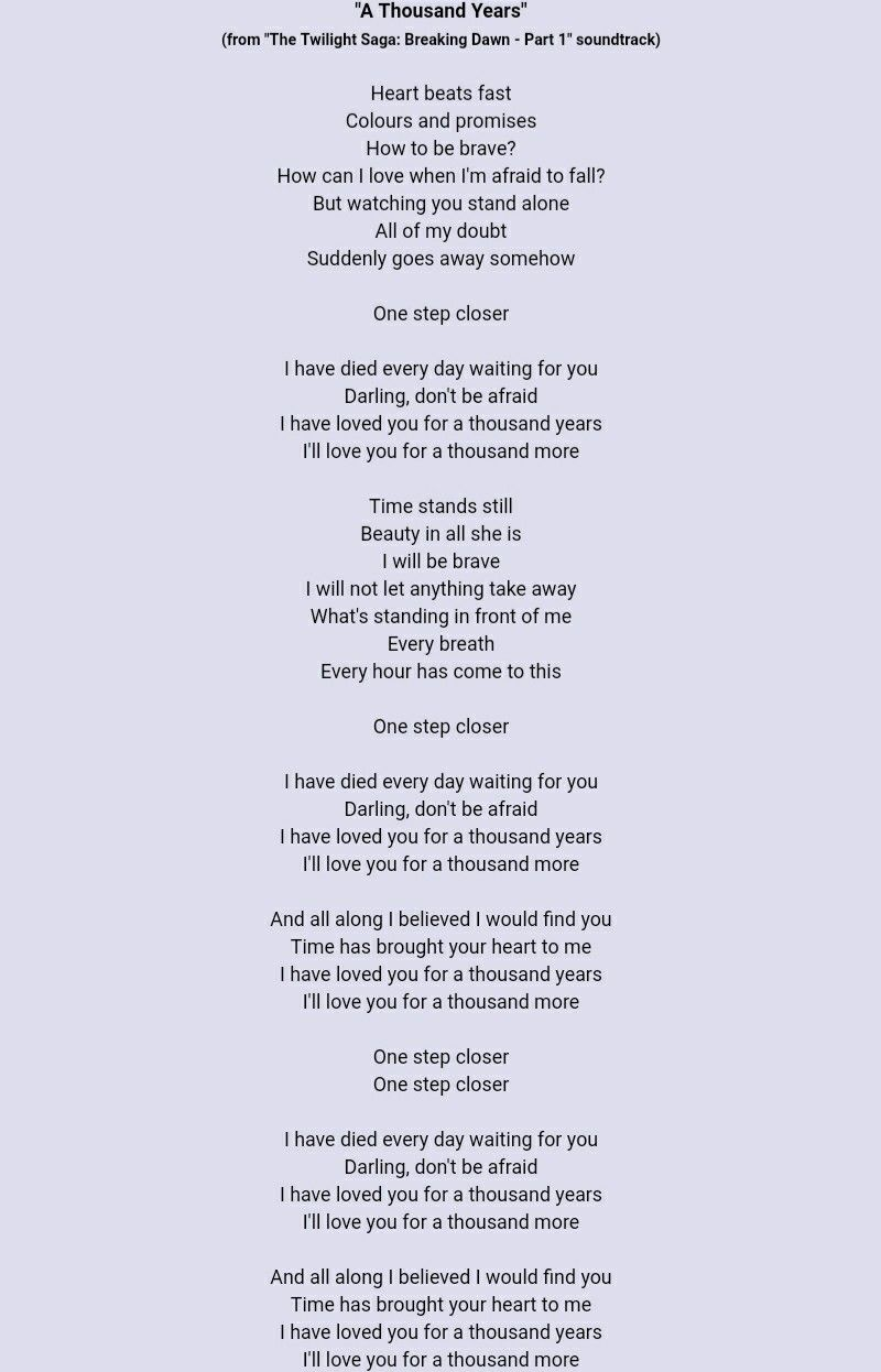 A Thousand Years Christina Perri Great Song Lyrics Thousand Years Lyrics Christina Perri Lyrics