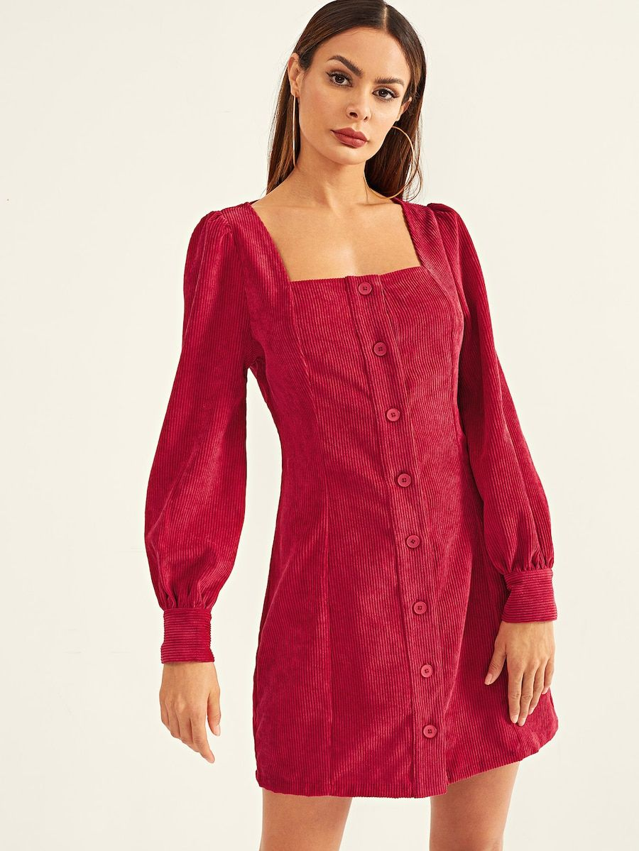 Square Neck Button Up Corduroy Dress Shein Sheinside Corduroy Dress Short Sleeve Dresses Fashion [ 1199 x 900 Pixel ]