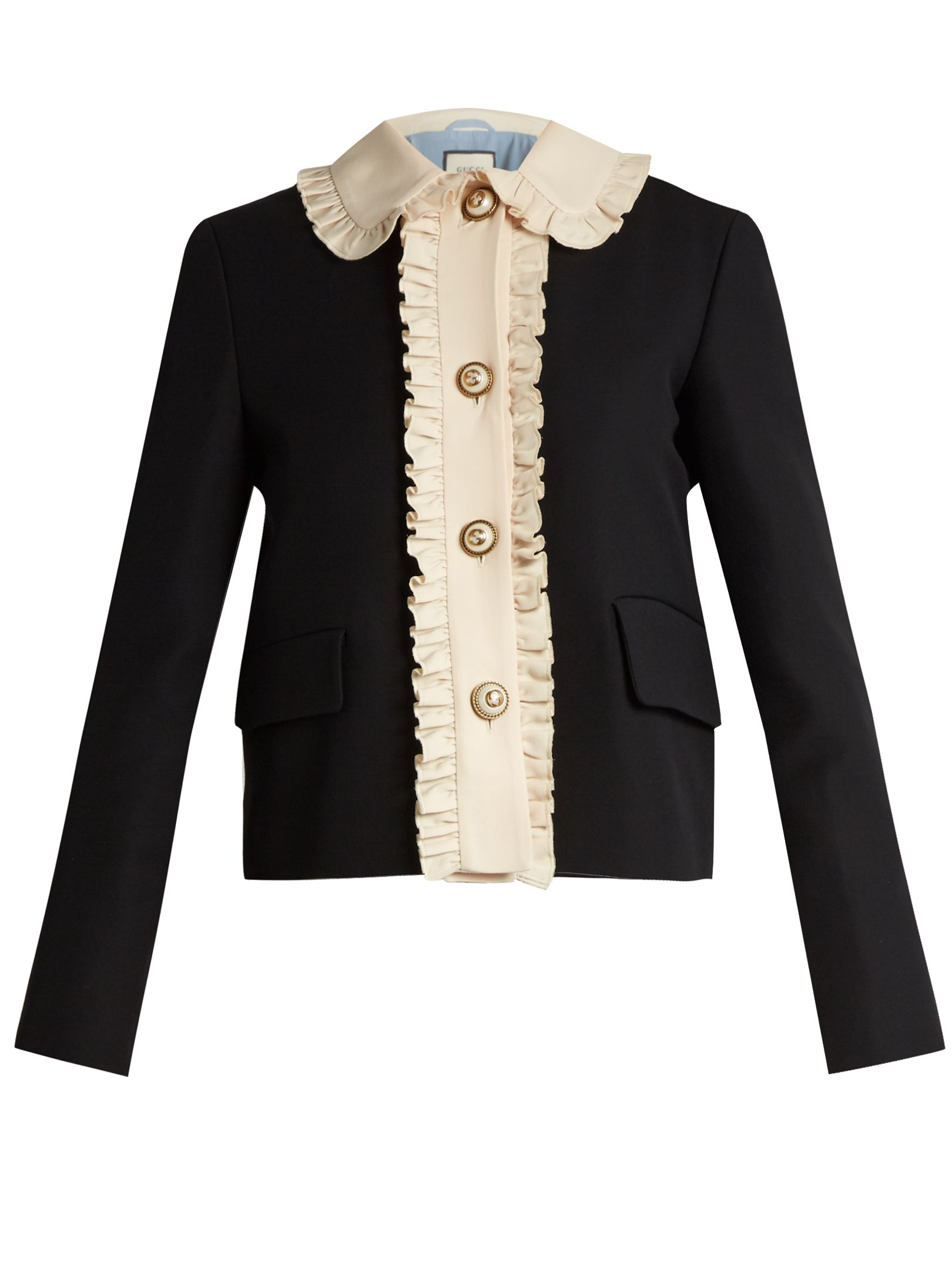 Ruffled wool and silk,blend crepe jacket