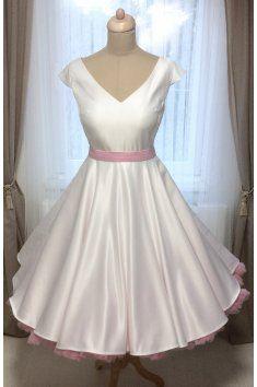 LOREN Svatební šaty Retro šaty výstřih V tylová sukně tyl Satén saténový  pásek 50.léta 653a792012