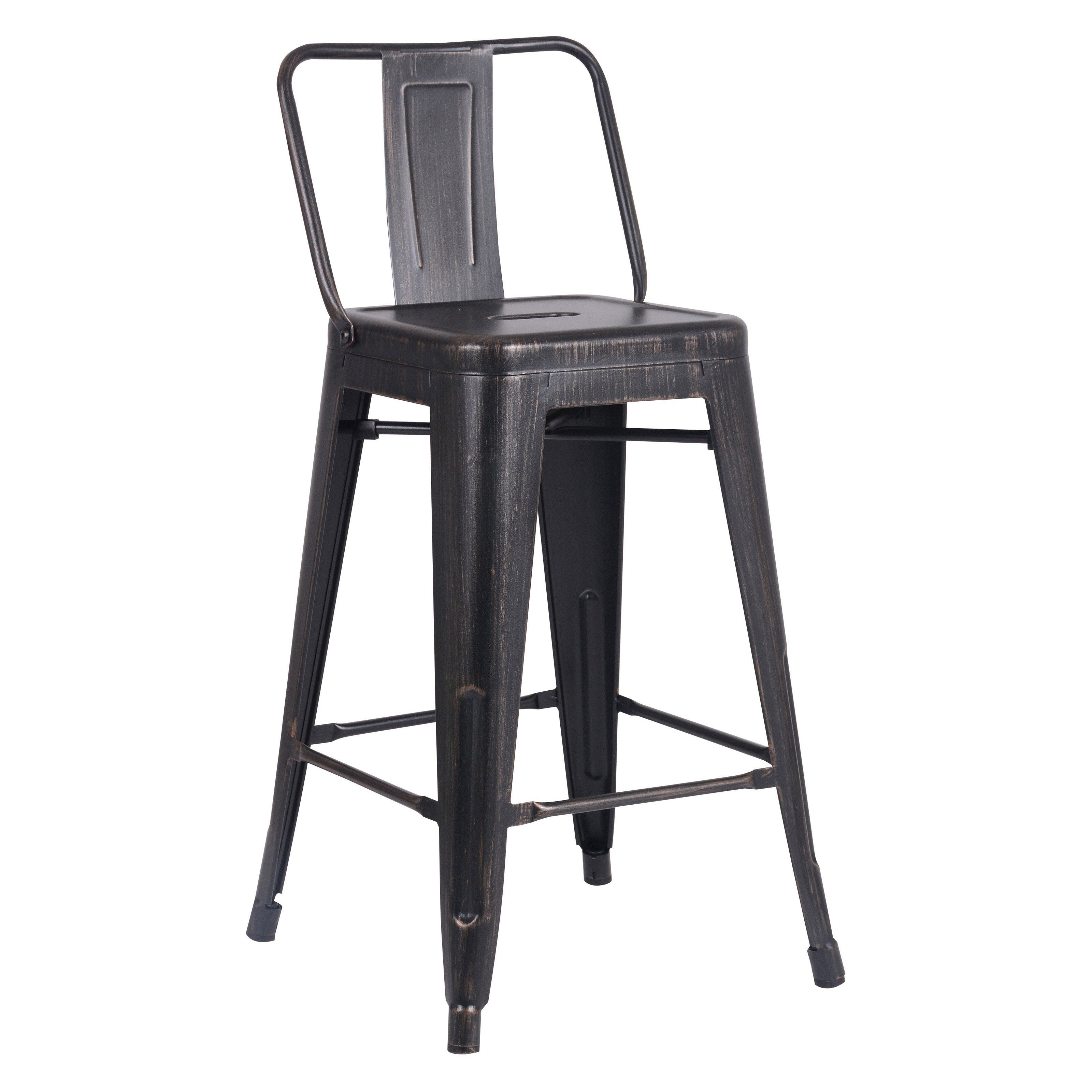 Christies Home Livin Marco Sanded Steel 24 in. Low Back Counter Stool - Set of 2 | from hayneedle.com