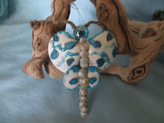 Blue and white Butterfly floral ornament by CarmelasCoastalCraft