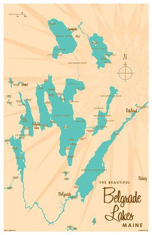 Belgrade Lakes Me Map 11x17 Print Professional Grade Digital Print