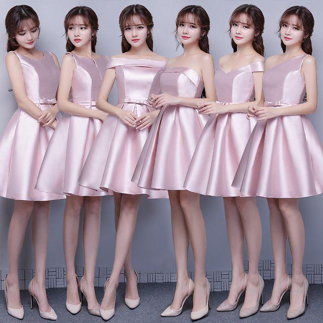 Nuevas Damas De Honor Vestidos De Rosa Satén Grueso Corto