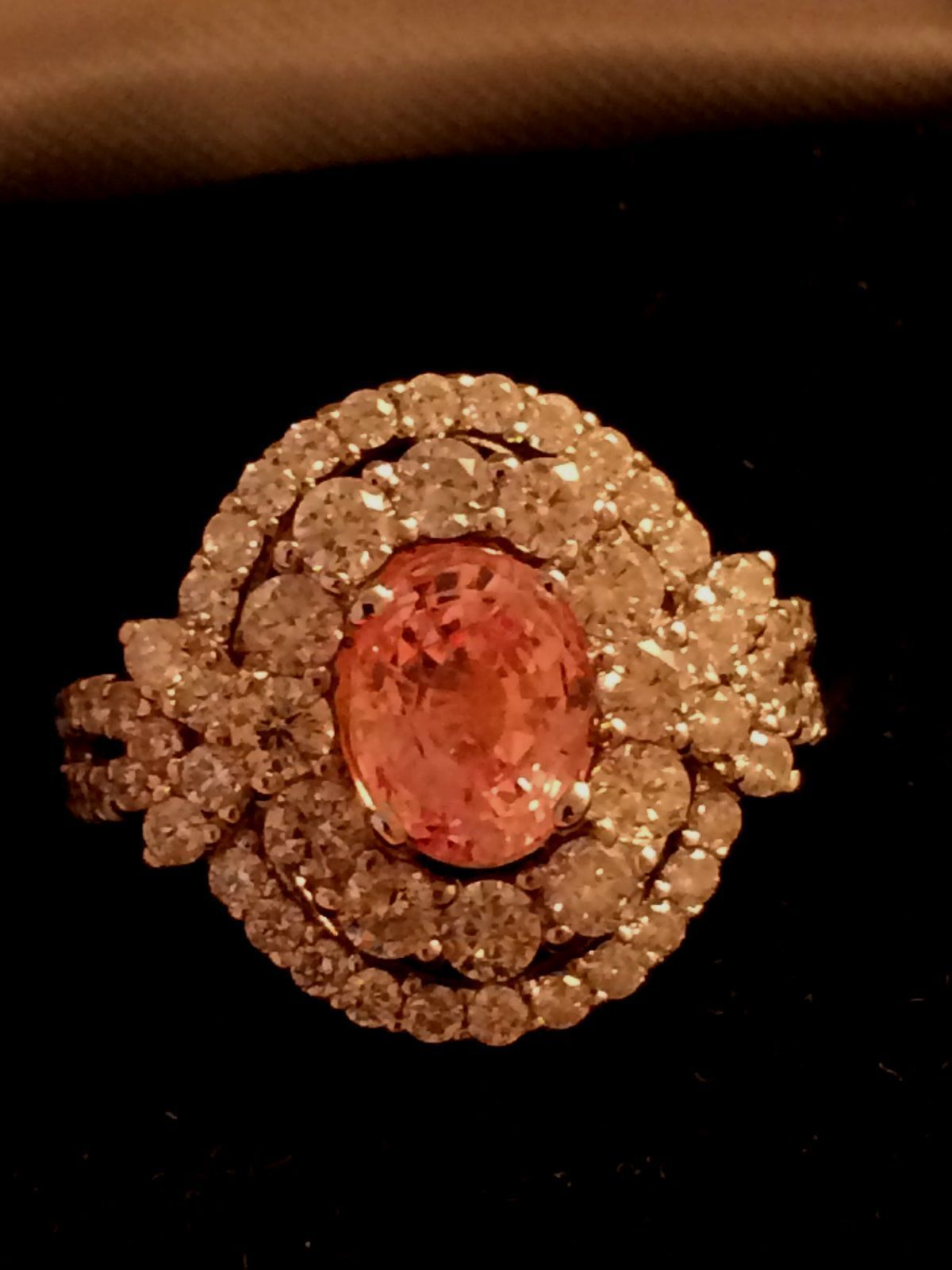 K gold ct rare gia certified padparadscha sapphire u diamond