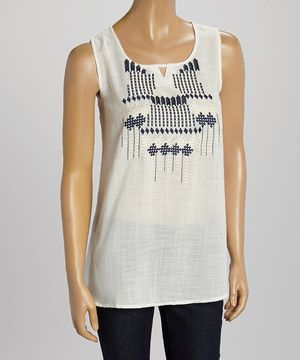 Loving this Blue Plate Black & Silver Geo Embroidered Tank on #zulily! #zulilyfinds