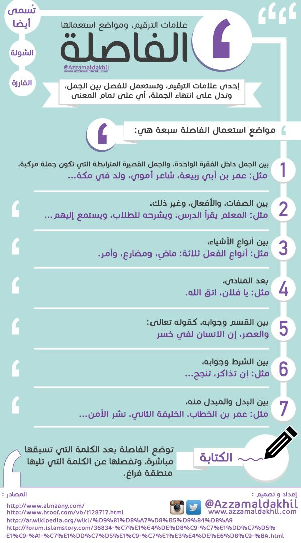 الفاصلة علامات الترقيم ومواضع استعمالها Learn Arabic Language Learning Arabic Learn Arabic Online
