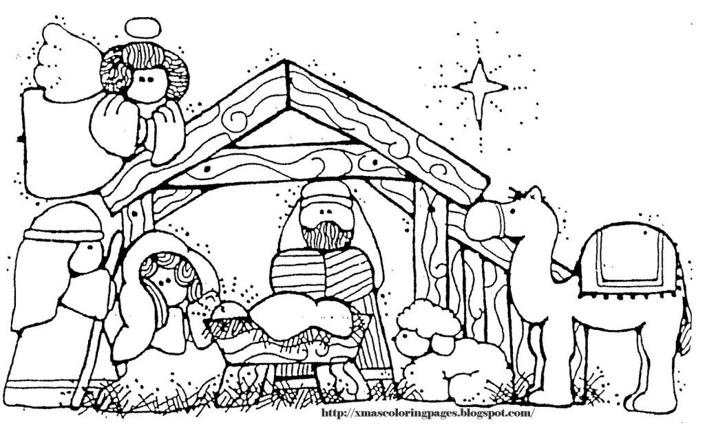 Nativity Stable Coloring Page For Print And Download Drawing