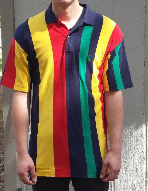 Vintage Nautica Polo Striped Yellow Green Red Blue 1990's Size Large  Vintage Polo Men's Shirt
