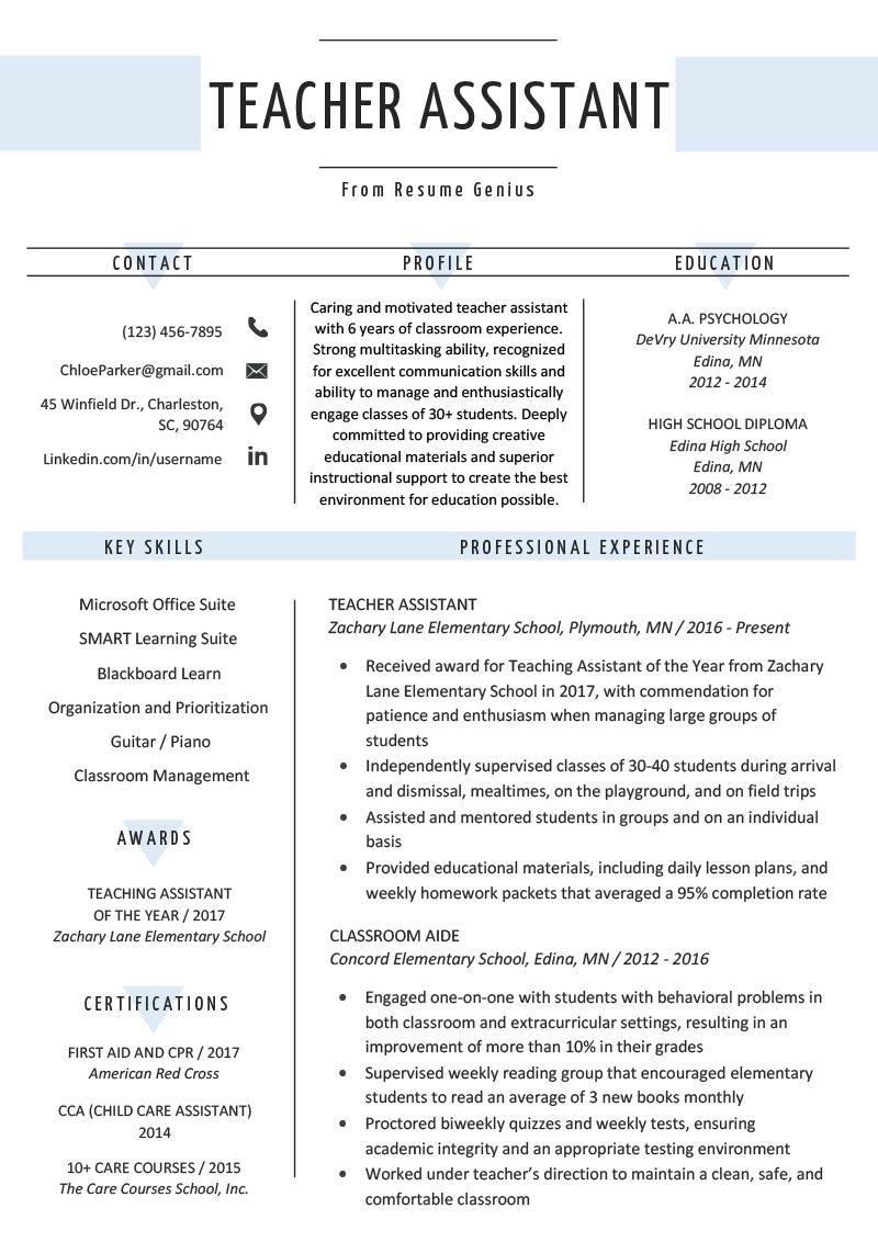 Teacher Assistant Resume Sample Writing Tips Resume Genius Educationassistant Teaching Resume Teacher Resume Examples Teaching Resume Examples