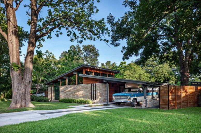 Mid Century Modern Carport Conversion In 2020 Mid Century Modern House Houses In Austin House Designs Exterior