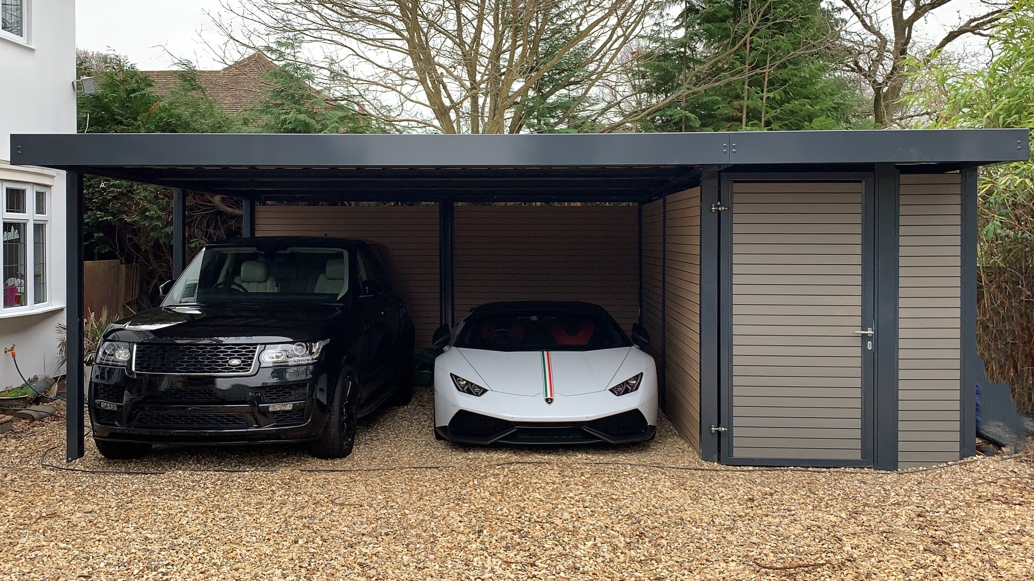 Contemporary double carport in Anthracite Grey (RAL 7016