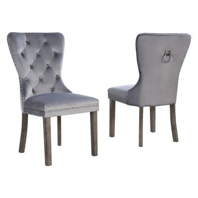 Evander Tufted Dining Side Chair With Nailhead Trim Set Of 2