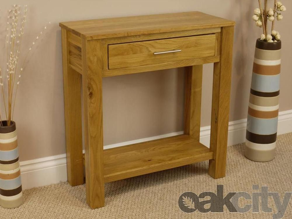 Oakland Chunky Oak Hall Table Solid 1 Drawer Side Console Telephone Unit Shelf Kitchen