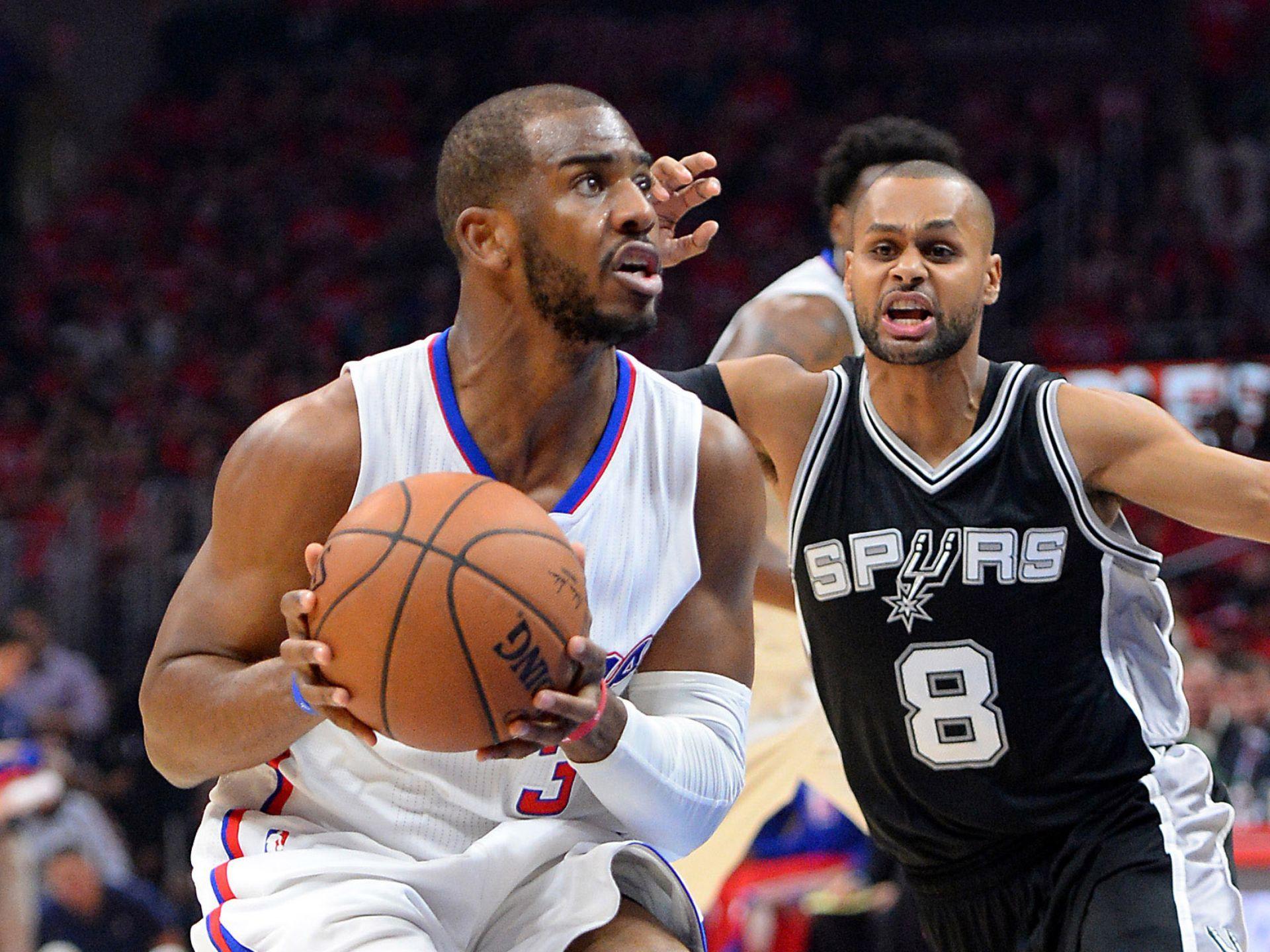 Game 7 In Los Angeles San Antonio Spurs Guard Patty Mills 8 Guards Los Angeles Clippers Guard Chris Paul 3 Jayne Kamin Oncea Usa Today Sports