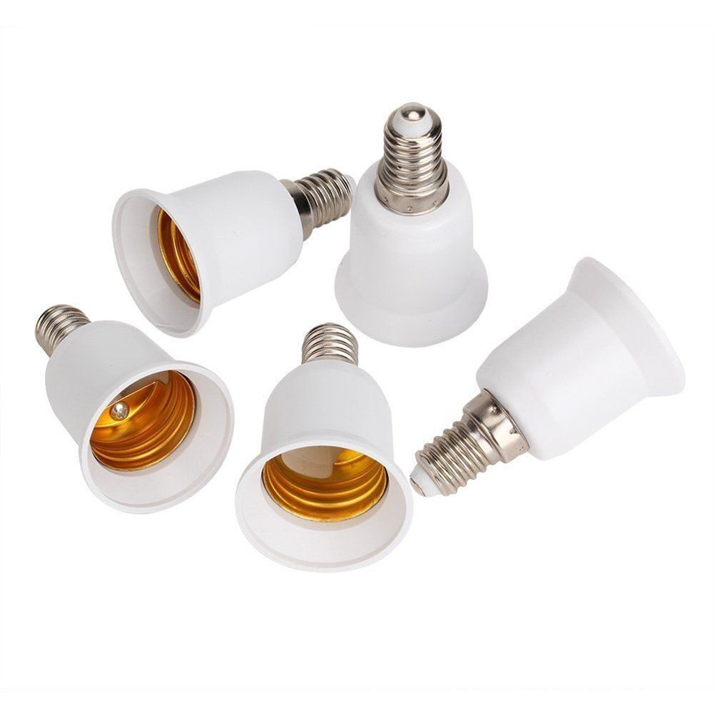 5pcs E14 E27 Adapter Base Screw Led Light Bulb Bulb Socket Converter White With Images Light Bulb Led Light Bulb Light Accessories