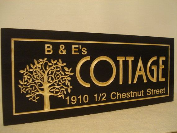Personalized Wood Wall Art personalized wooden sign carved black cottage address sign
