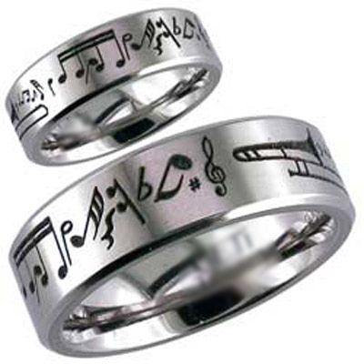 Music Notes Engraved Design Titanium Couple Band Ain T That Neat