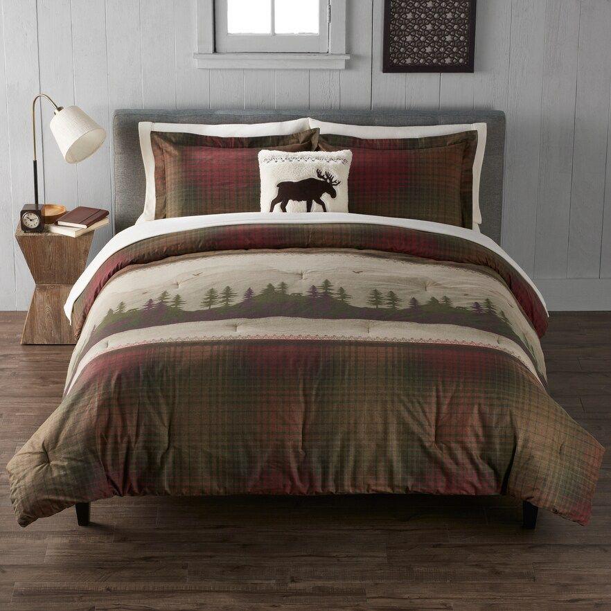 Cuddl Duds Heavyweight Flannel Scenic Lodge Comforter Set Duvet