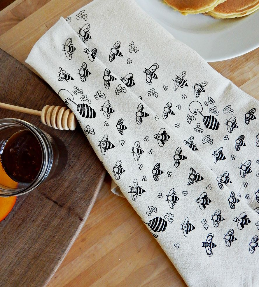 honeybee print kitchen towels, set of 2 | print, the high and 2),