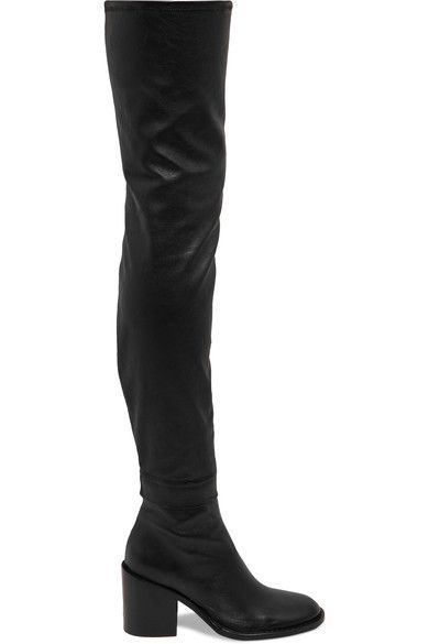 3d9aa4a3122 ANN DEMEULEMEESTER ANN DEMEULEMEESTER - STRETCH-LEATHER OVER-THE-KNEE BOOTS  - BLACK.  anndemeulemeester  shoes