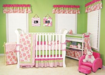 pink and lime green baby nursery bedding crib set hawaiian light green room ideas pinterest. Black Bedroom Furniture Sets. Home Design Ideas