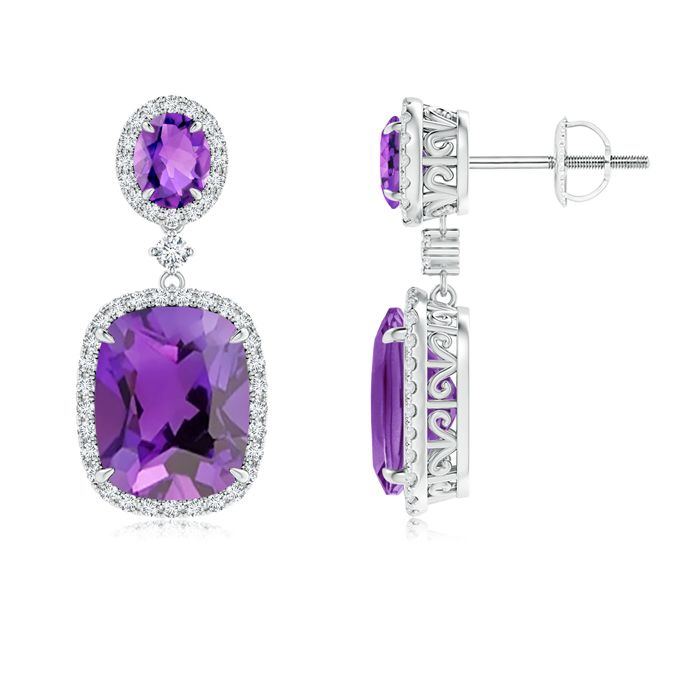 Angara Dangling Amethyst and Diamond Halo Earrings in Yellow Gold eIOnB6cz