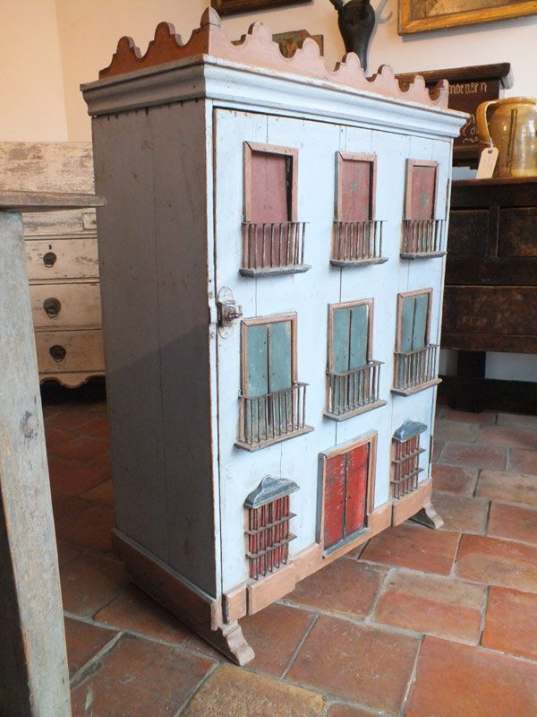 Folk Art Spanish House Cupboard #spanishdolls
