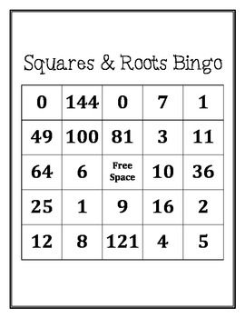 Squares And Square Roots Bingo Square Roots Middle School Math Logic Math