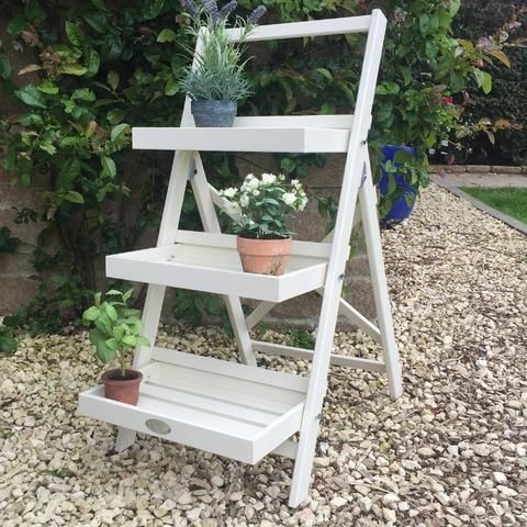 Parisian Vintage White Wooden Plant Stand