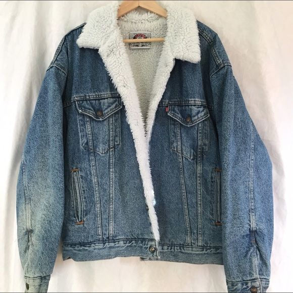 OVERSIZED vintage Levi's denim fur jacket | 90s grunge, White fur ...