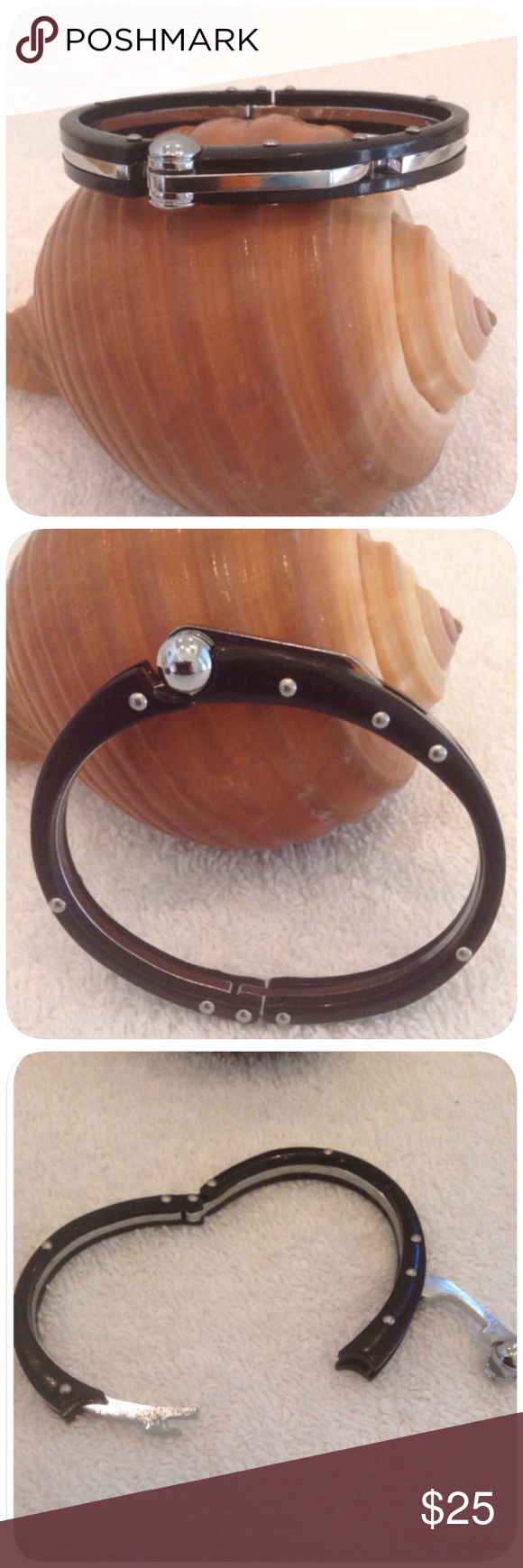 HandCuff Bracelet Feed your wild side with this super cute handcuff bracelet. Made of stainless steel and plastic. Will fit wrists up to 8 inches. I'm sorry but I don't trade. Jewelry Bracelets