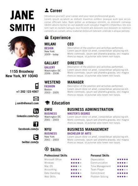 find the purple creative resume template on wwwcvfoliocom