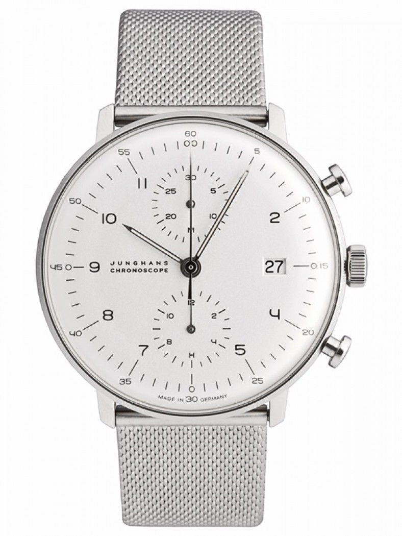 Junghans Max Bill Chronoscope Automatic Date Milanese Watch 027 4003 44 Watches For Men Max Bill Watch Design