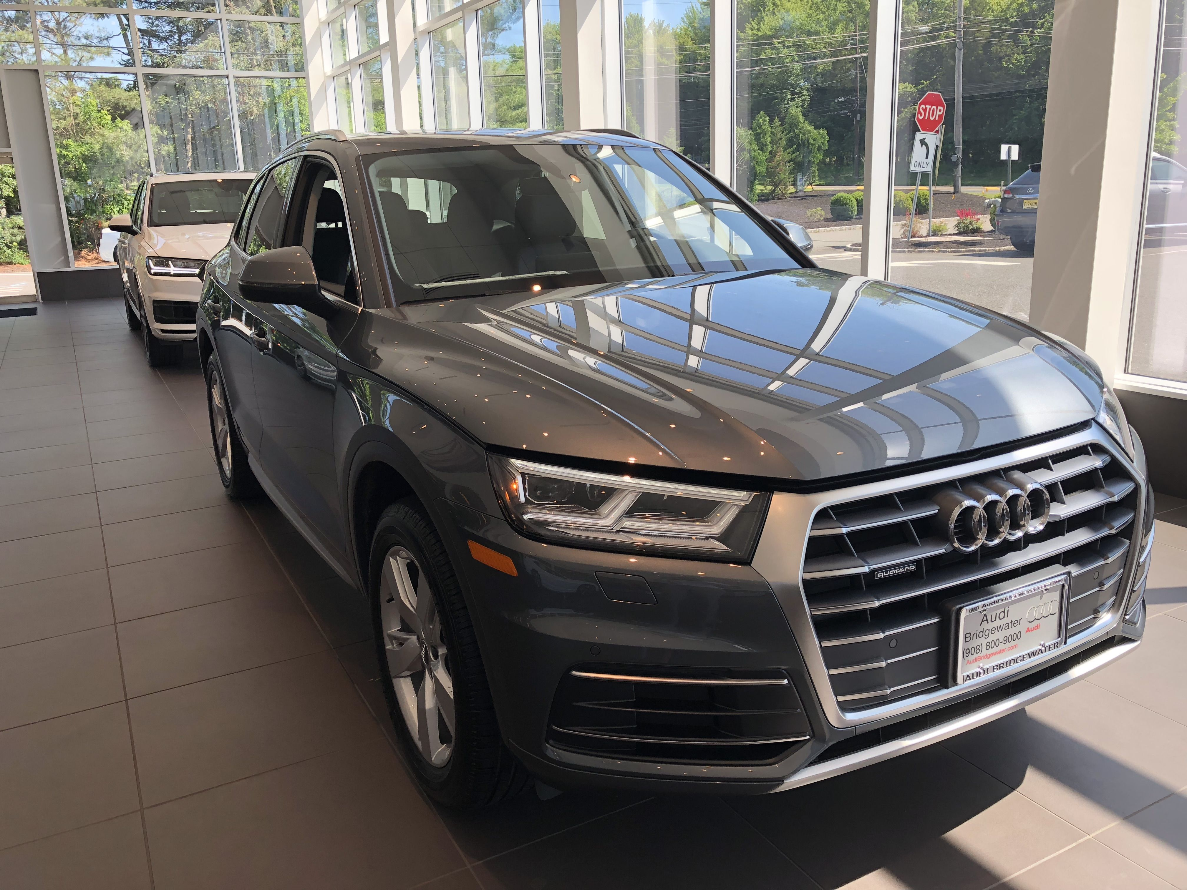 Sideangled View Of Audi Q In Monsoon Grey Metallic Vehicle - Audi dealers nj