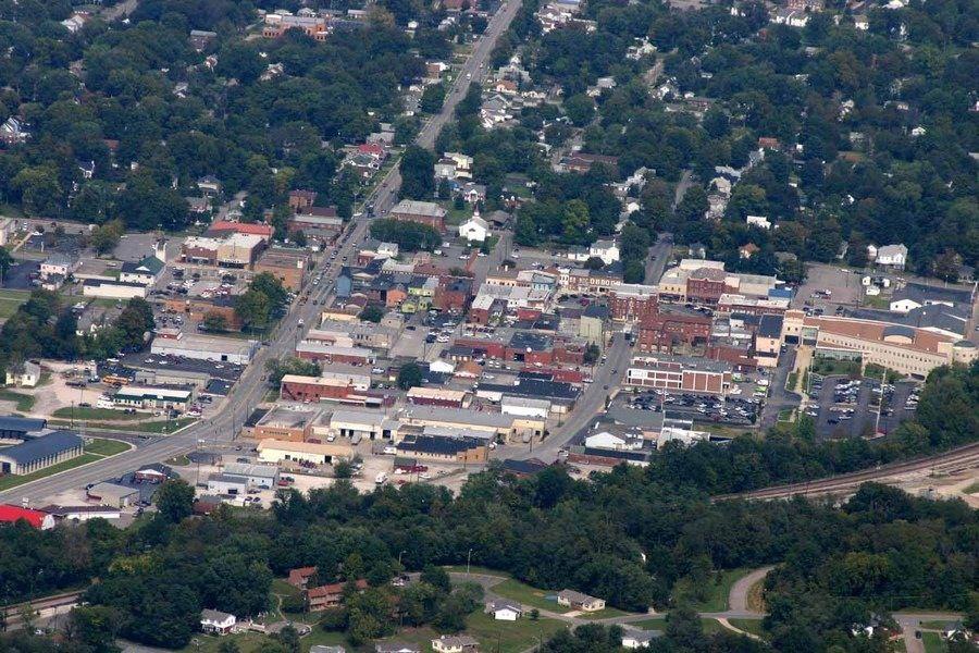 Birds eye view of downtown Elizabethtown Ky