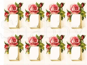 Shabby Chic Pink Rose collage sheet for scrapbook and cards download by shabbybeautiful for $1.99