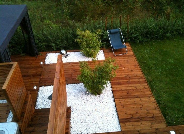 steinbeet-gestaltung-weisser-kies-bambuspflanzen-bodenleuchten, Gartenarbeit ideen