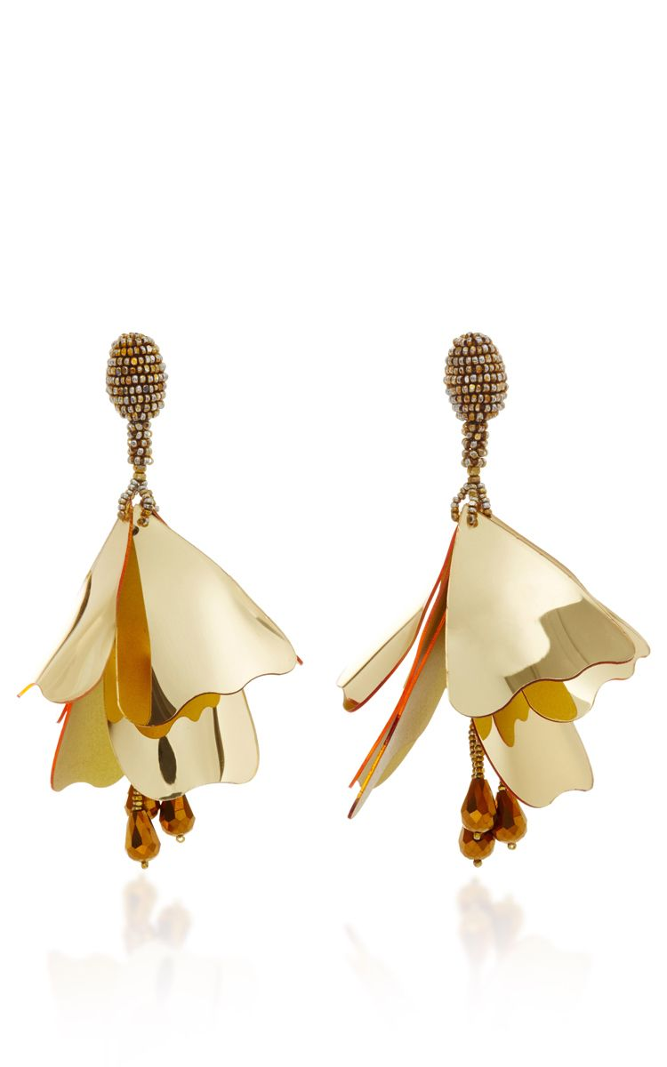 beaded petal drop earrings - Metallic Oscar De La Renta 9Q87r