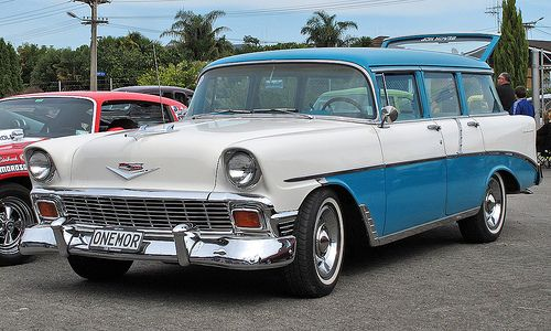 1956 Chevy Belair Wagon- LEGIT dream car. I would love to throw some seatbelts in this bitch and ride.