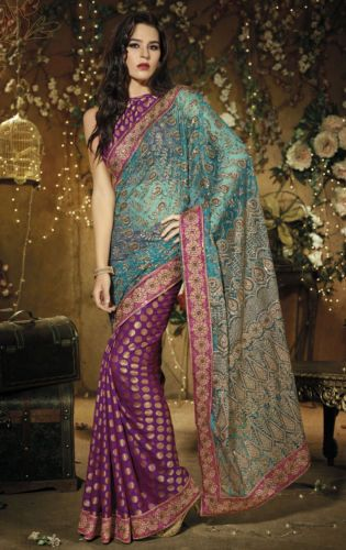 Designer Bollywood Purple Turquoi Schiffli Embroidered Net Viscose Saree SC9003A | eBay