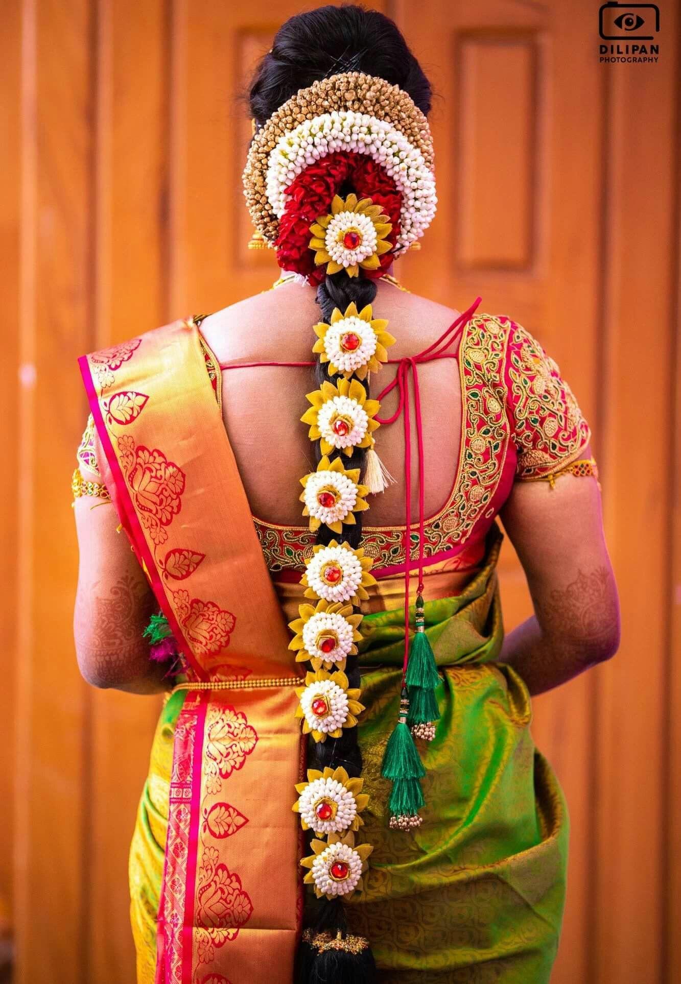 Pin by dev mama on FLOWER BRAIDS Bridal hairdo, Indian