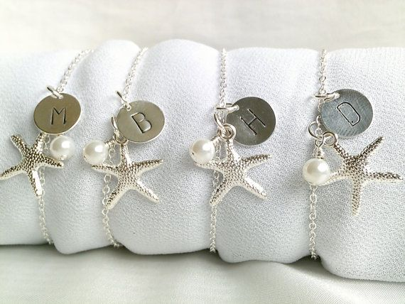 Free Us Shipping Set Of 4 Personalized Starfish Bridesmaid Bracelets Beach Wedding Theme Bracelet Gift