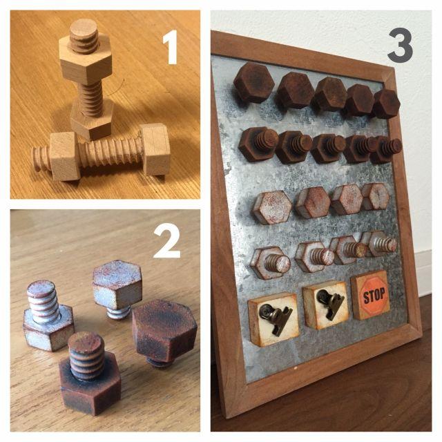 ダイソーの木製ボルトのリメイクです。 カットして、さび塗装してから磁石を埋めれば・・・ ボルト風マグネットの完成です!! フリマ用に量産中!!リメイク/マグネット/さび塗装/セリア/ダイソーリメイク/棚…などのインテリア実例 - 2015-11-22 10:14:25 | RoomClip(ルームクリップ)