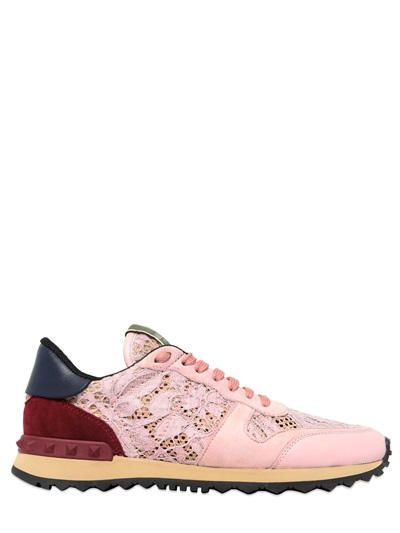 VALENTINO - LACE & SUEDE SNEAKERS - LUISAVIAROMA - LUXURY SHOPPING WORLDWIDE SHIPPING - FLORENCE