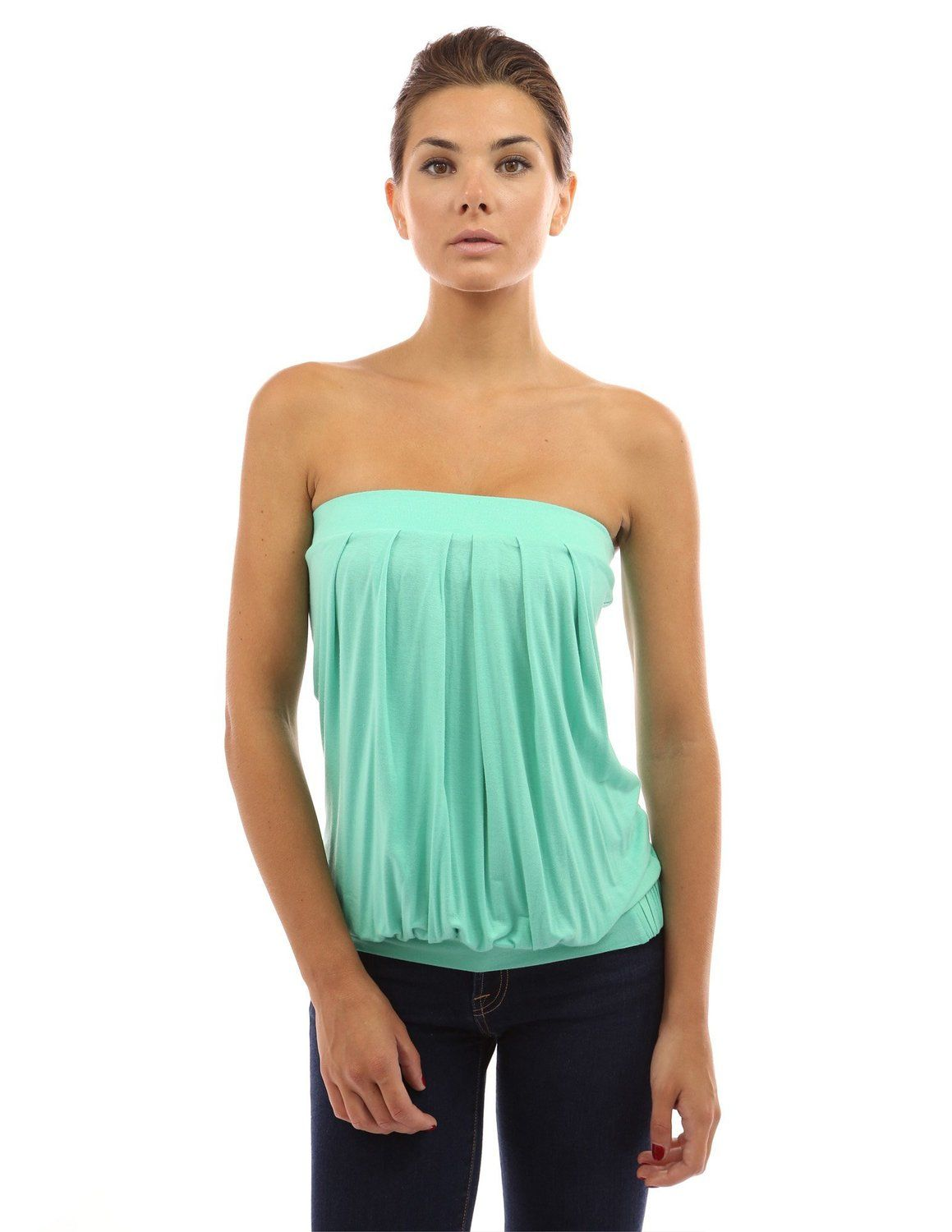 de1e6353a0ff6a PattyBoutik Women s Pleated Tube Top at Amazon Women s Clothing store  Tank  Top And Cami Shirts